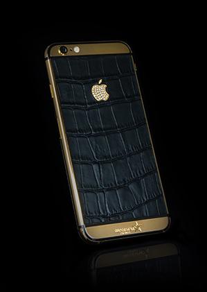 wholesale dealer 89787 598de iPhone 6S Black Crocodile Skin - 24kt Gold