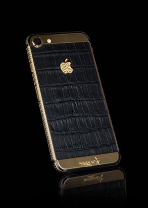 b9092ece71ed1 iPhone 7 Black Crocodile Skin with Swarovski - 24k Gold